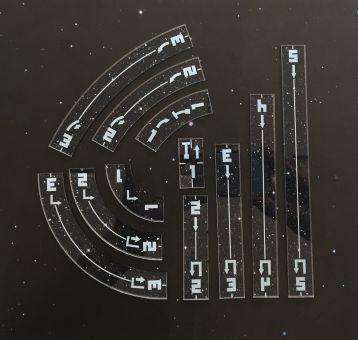 XWing 2 - Manöver Sternenfeld01 (11 teilig), bedruckt